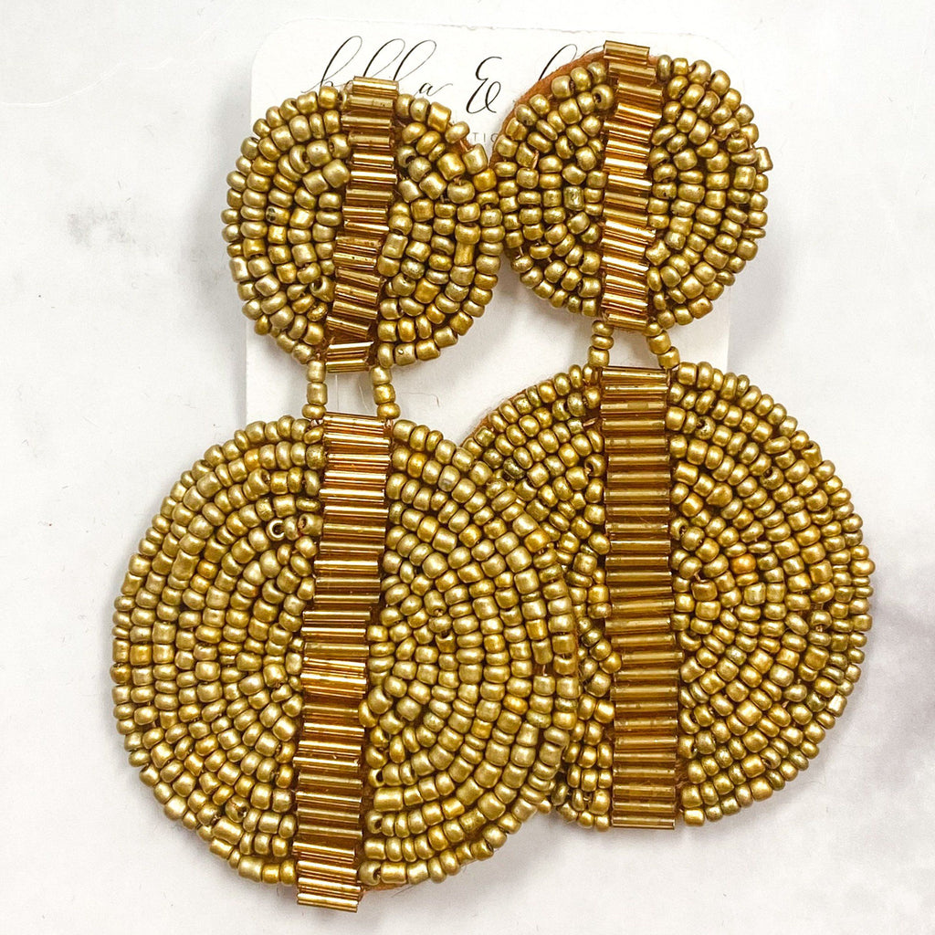 Beaded Double Disc Earrings: Gold - Bella and Bloom Boutique