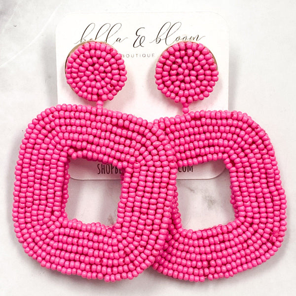 Summer Cutie Beaded Earrings: Pink - Bella and Bloom Boutique