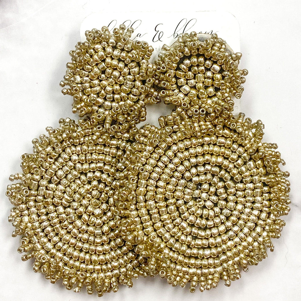 Beaded Disc Earrings: Champagne - Bella and Bloom Boutique