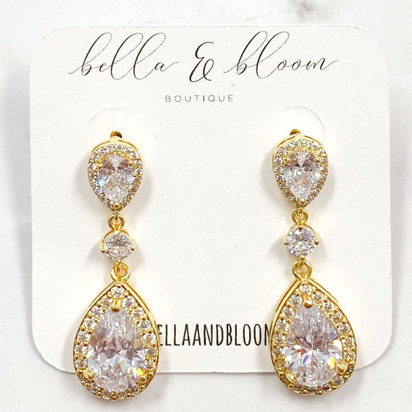 Formal Occasion Teardrop Earrings: Gold - Bella and Bloom Boutique