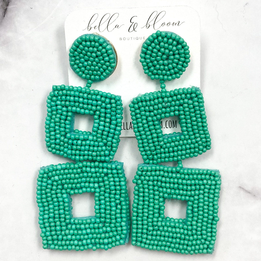 Tri-Square Beaded Earrings: Mint Green - Bella and Bloom Boutique