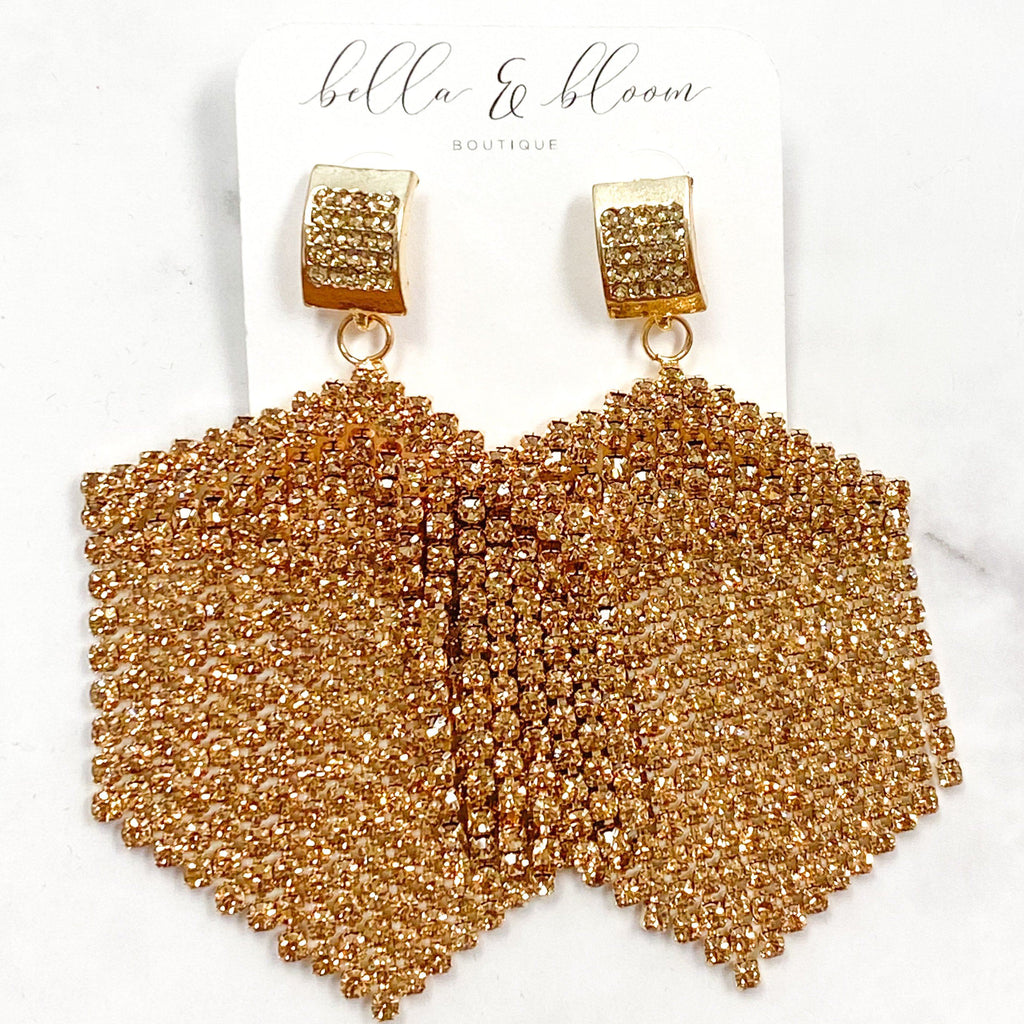 Raining Diamonds Earrings: Gold/Rose Gold - Bella and Bloom Boutique