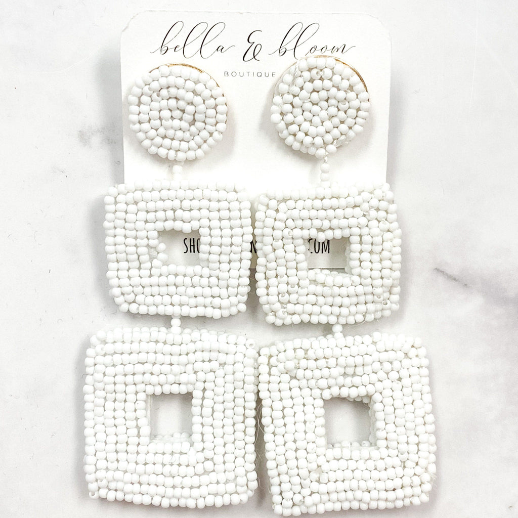 Tri-Square Beaded Earrings: White - Bella and Bloom Boutique