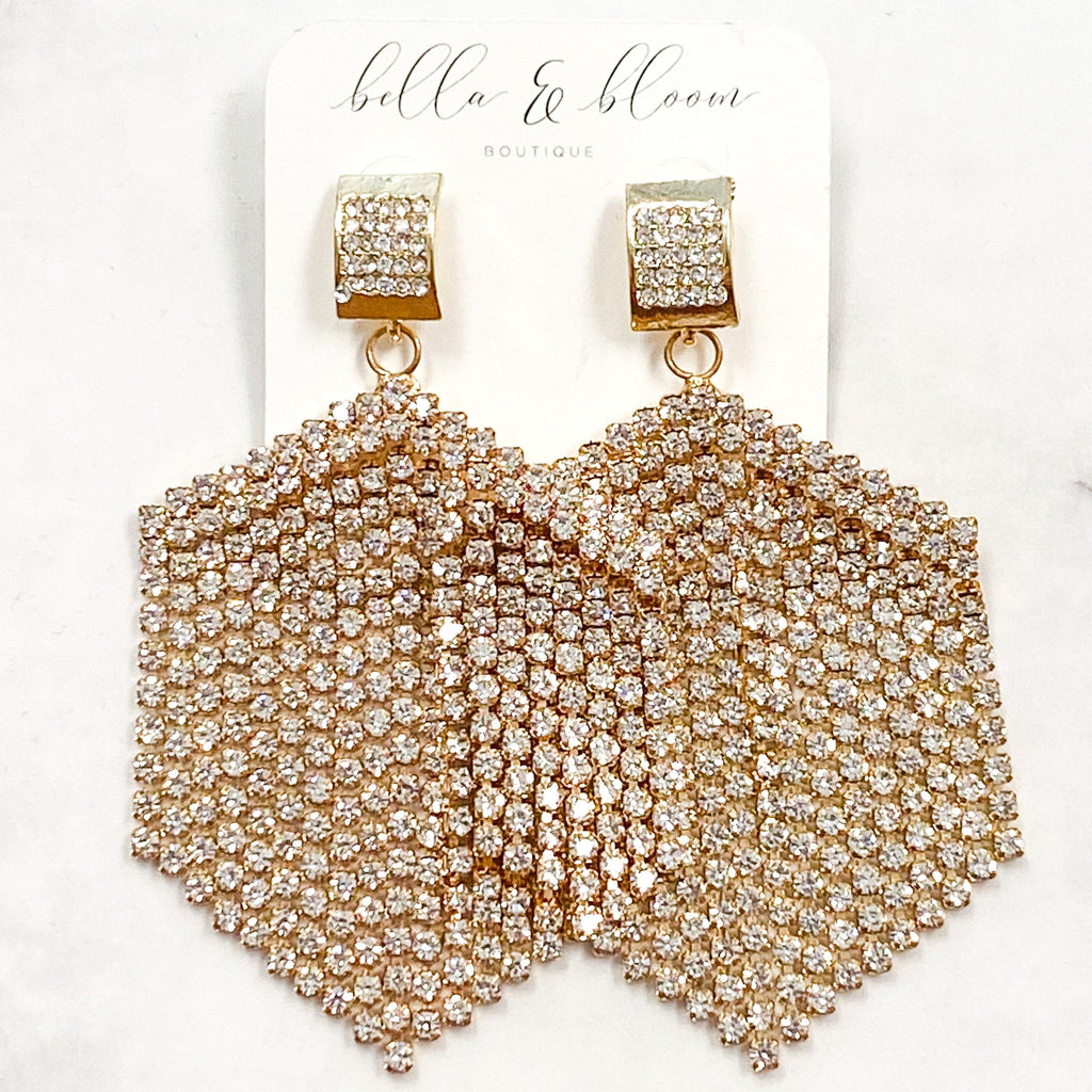 Raining Diamonds Earrings: Crystal/Gold - Bella and Bloom Boutique