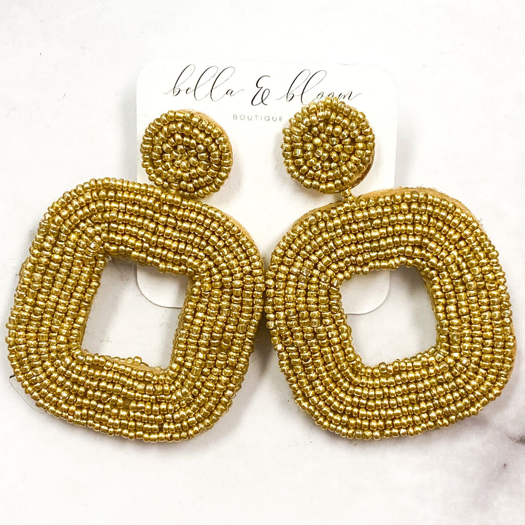 Summer Cutie Beaded Earrings: Gold - Bella and Bloom Boutique