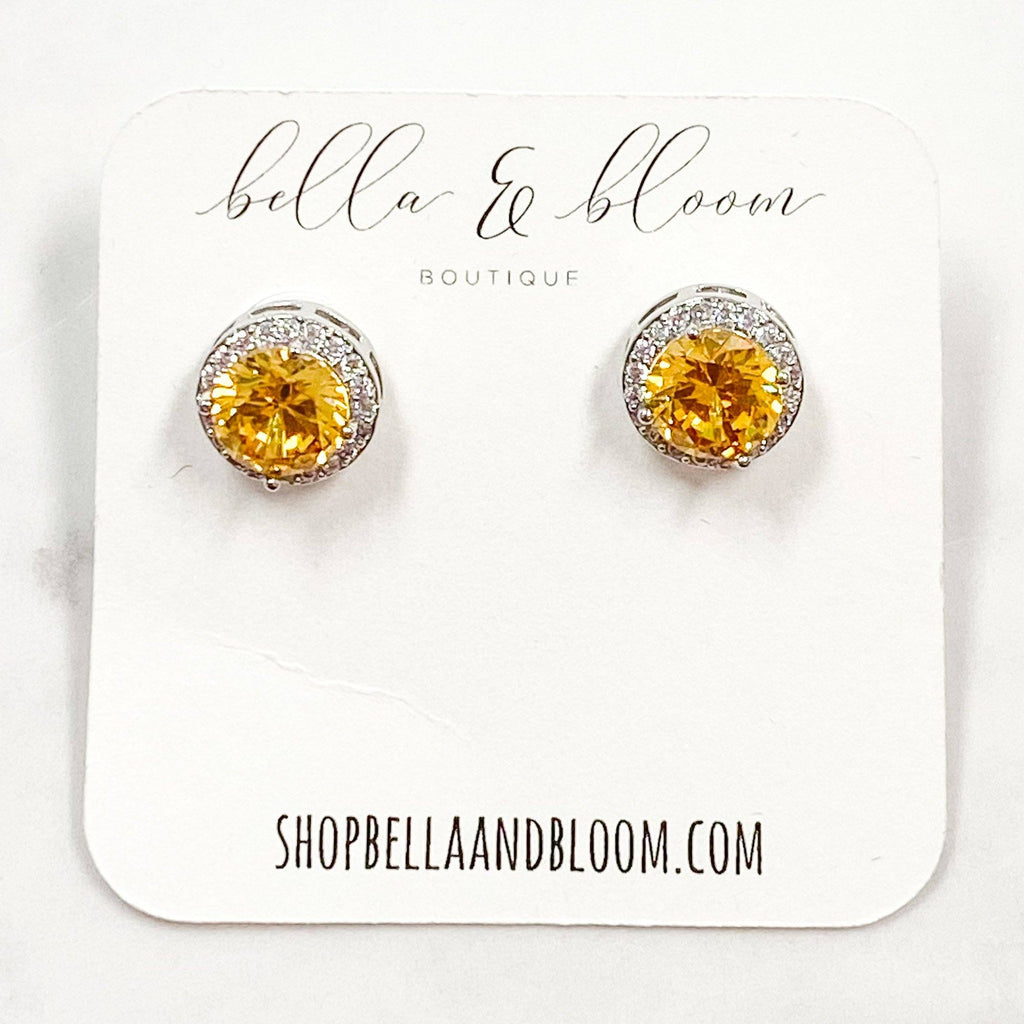 Round Stud Earrings: Topaz - Bella and Bloom Boutique