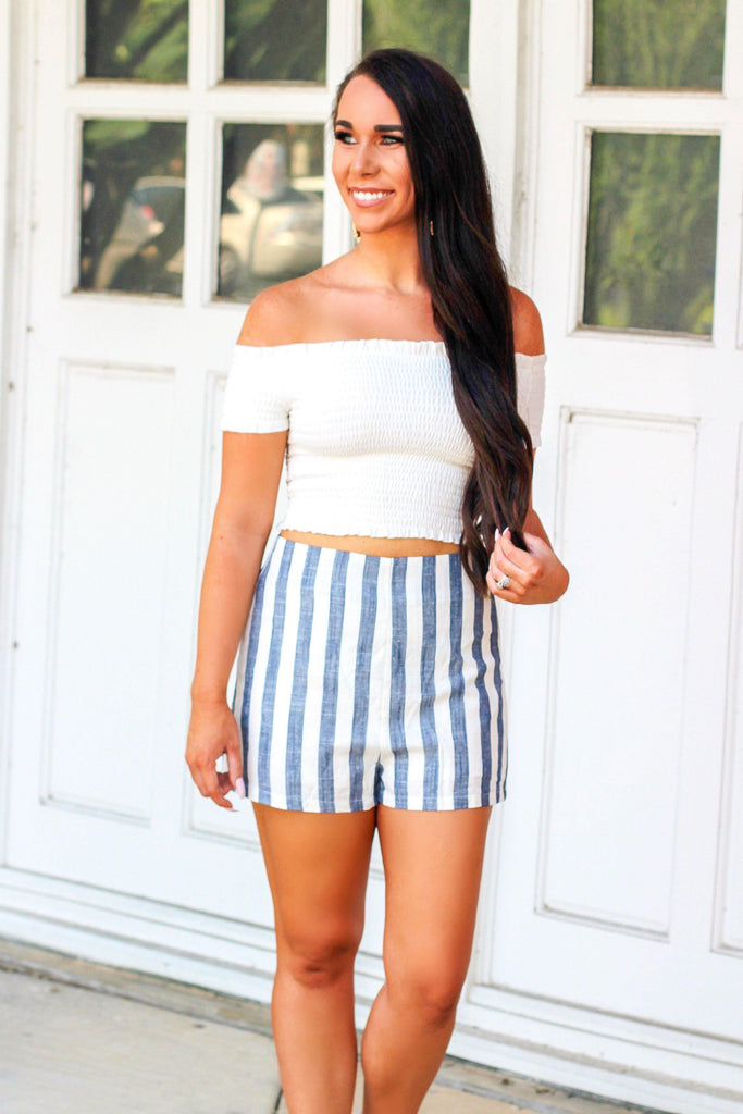 Only You Shorts: White/Blue - Bella and Bloom Boutique