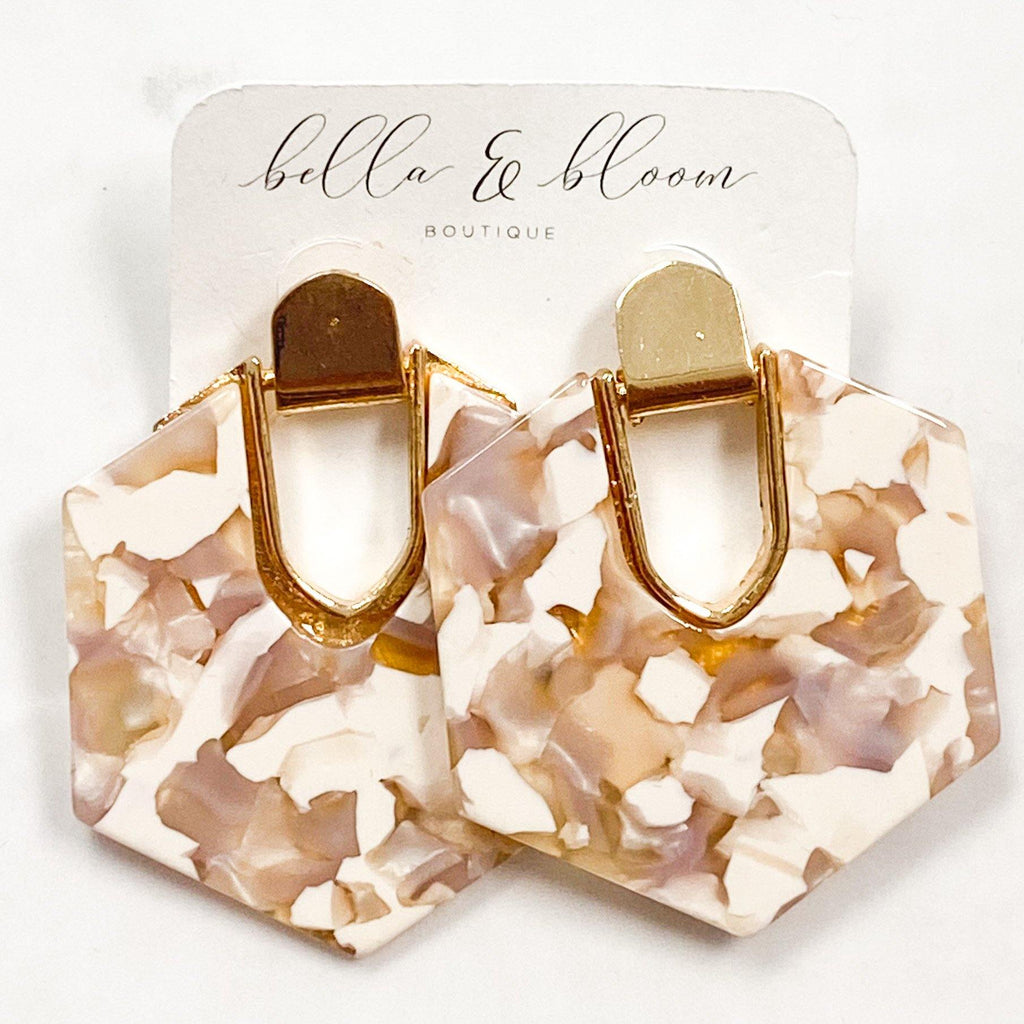 Octagon Resin Earrings: Mauve - Bella and Bloom Boutique