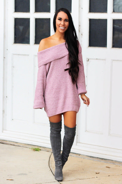 RESTOCK: Very Fall Chenille Sweater Tunic: Mauve - Bella and Bloom Boutique