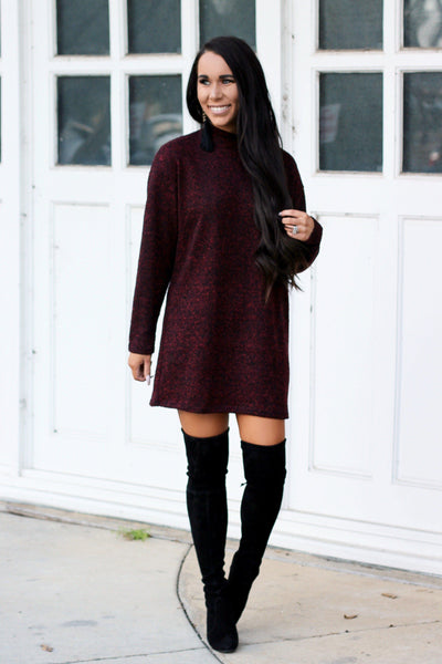 Winter Snuggles Sweater Dress: Burgundy - Bella and Bloom Boutique