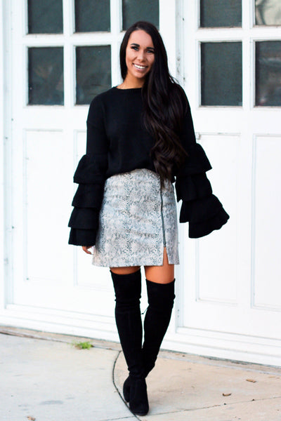 Tiers of Love Sweater: Black - Bella and Bloom Boutique