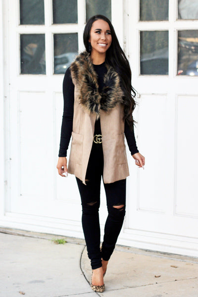 PRE-ORDER: Faux Fur Vest: Camel - Bella and Bloom Boutique