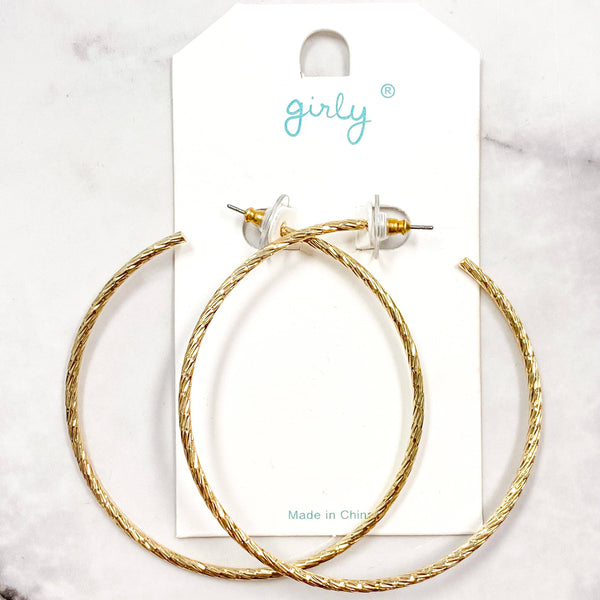 Etched Hoop Earrings: Gold - Bella and Bloom Boutique