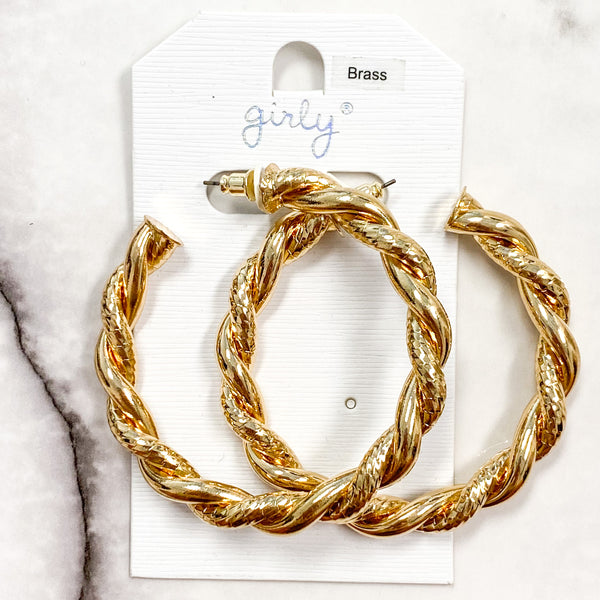 Twisted Rope Hoop Earrings: Gold - Bella and Bloom Boutique