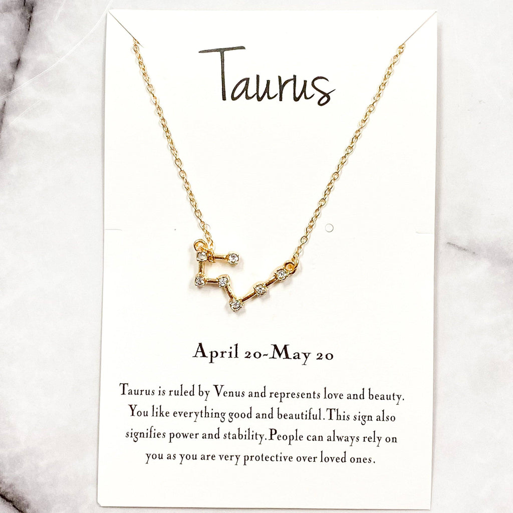 Zodiac Necklace: Gold, Taurus - Bella and Bloom Boutique