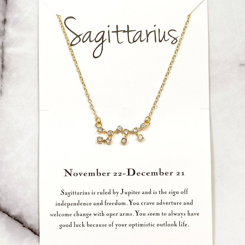 Zodiac Necklace: Gold, Sagittarius - Bella and Bloom Boutique