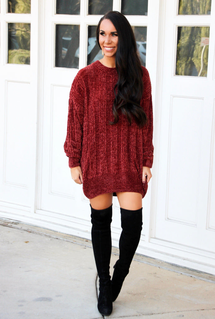 Time After Time Chenille Ribbed Sweater: Rust - Bella and Bloom Boutique