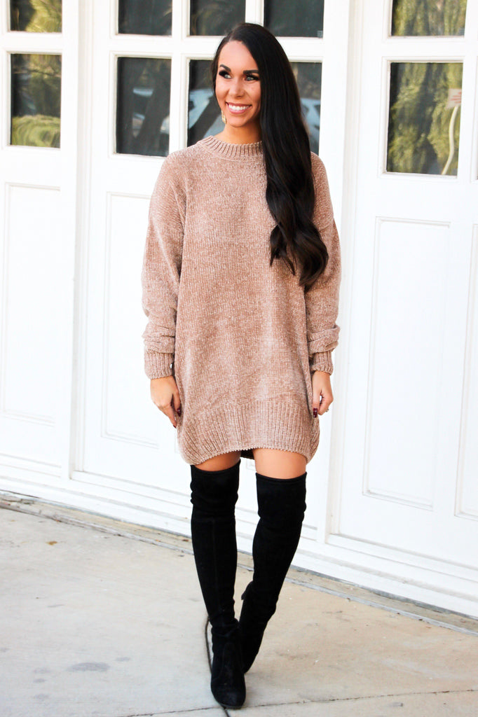 Time After Time Chenille Sweater: Mocha - Bella and Bloom Boutique