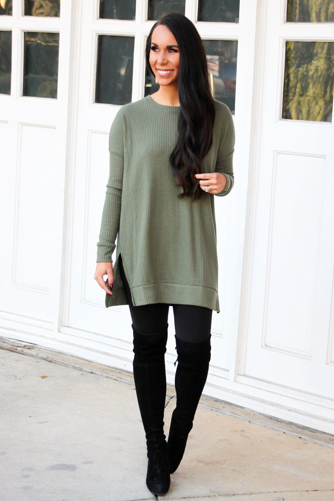 Fall Crush Thermal Tunic Top: Olive - Bella and Bloom Boutique