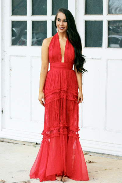 RESTOCK: Love on Fire Maxi Dress: Red - Bella and Bloom Boutique