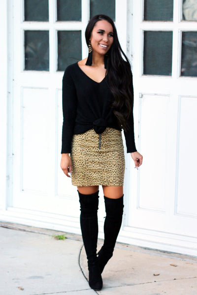 Leopard Fever Skirt: Tan Multi - Bella and Bloom Boutique