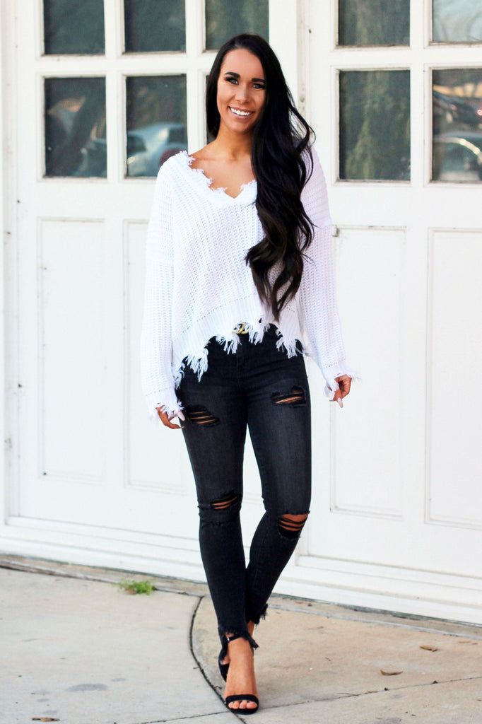 RESTOCK: Distressed Essential Sweater: Ivory - Bella and Bloom Boutique