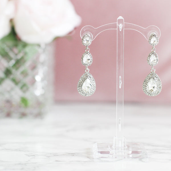 RESTOCK: Wedding Glam Earrings: Crystal - Bella and Bloom Boutique