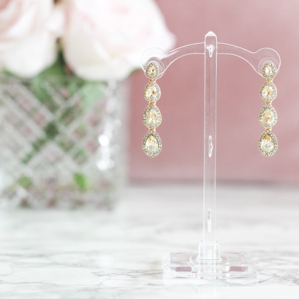 Cinderella Story Earrings: Champagne - Bella and Bloom Boutique