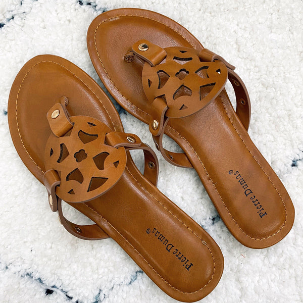 Paisley Medallion Sandals: Cognac - Bella and Bloom Boutique