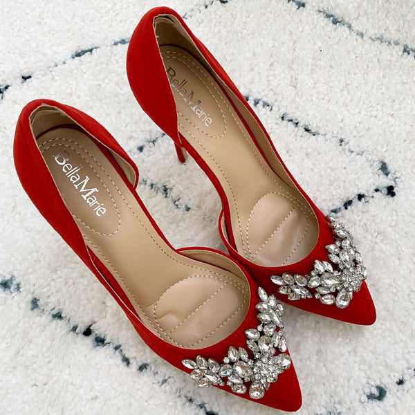 Brinley Embellished Heels: Red - Bella and Bloom Boutique