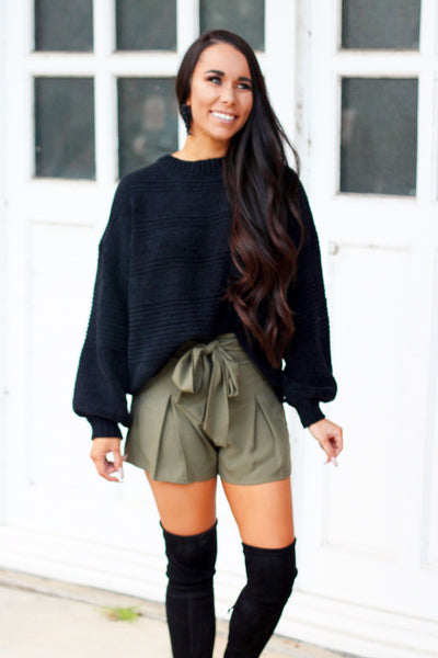 RESTOCK: Bow Me Away Shorts: Olive - Bella and Bloom Boutique