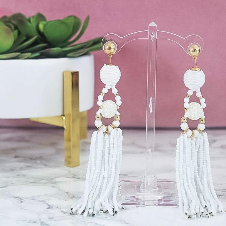 Best of Both Worlds Earrings: White - Bella and Bloom Boutique