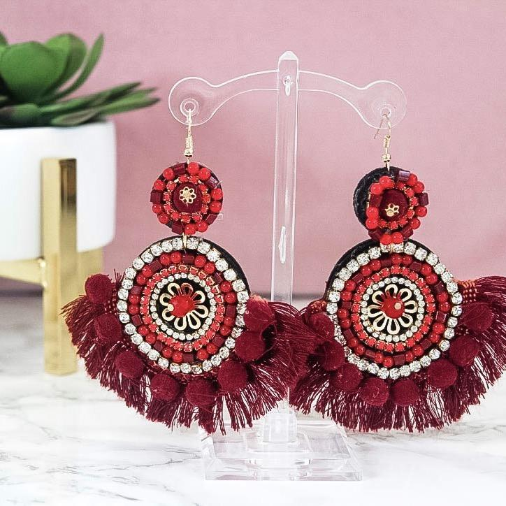Island in the Sun Earrings: Red - Bella and Bloom Boutique