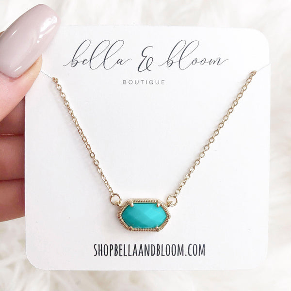 Chloe Necklace: Aqua/Gold - Bella and Bloom Boutique