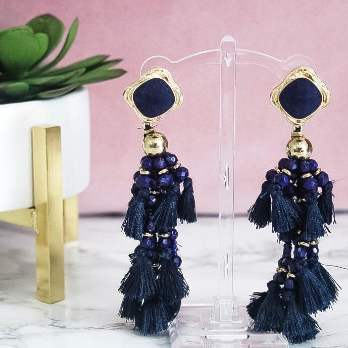 The Lucky One Earrings: Navy - Bella and Bloom Boutique