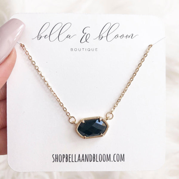 Chloe Necklace: Black/Gold - Bella and Bloom Boutique
