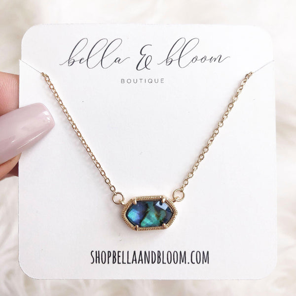 Chloe Necklace: Abalone Shell/Gold - Bella and Bloom Boutique