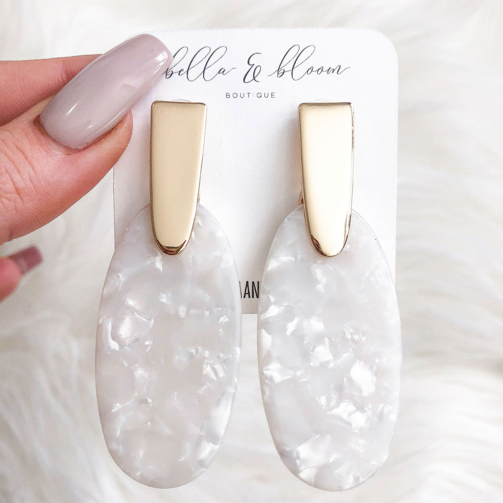 PRE-ORDER: Madison Resin Earrings: Mother of Pearl/Gold - Bella and Bloom Boutique