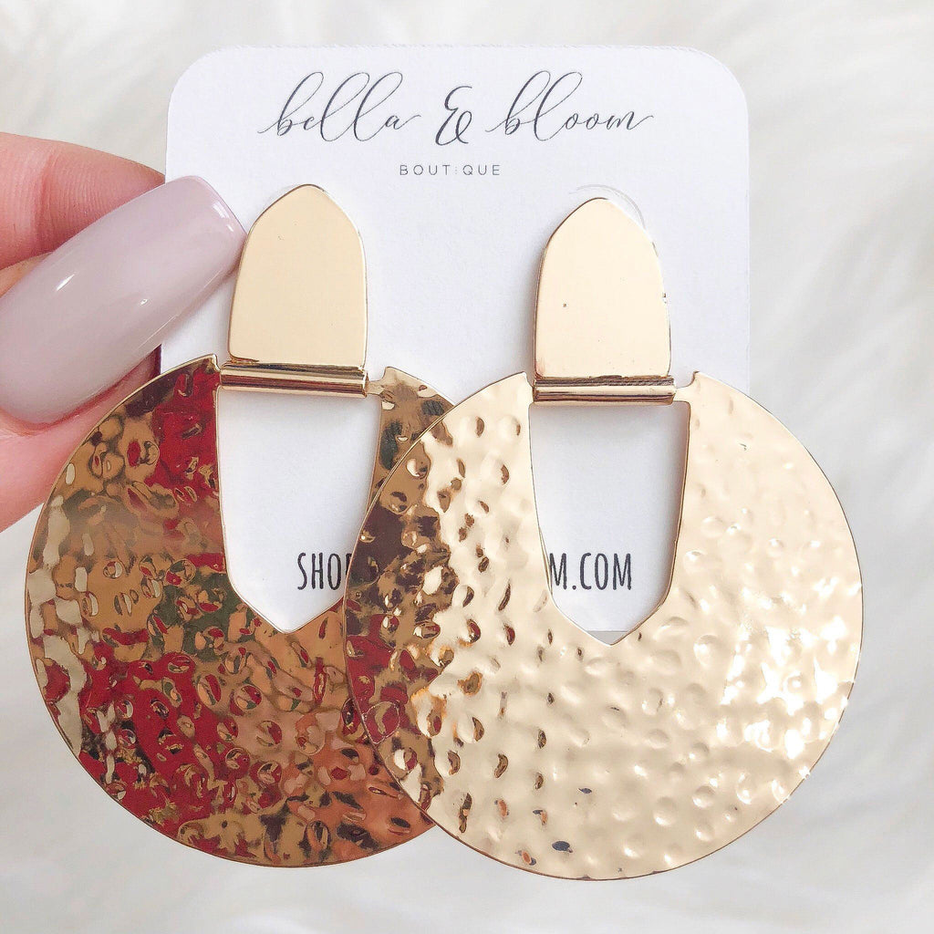 RESTOCK: Audrey Hammered Earrings: Gold - Bella and Bloom Boutique