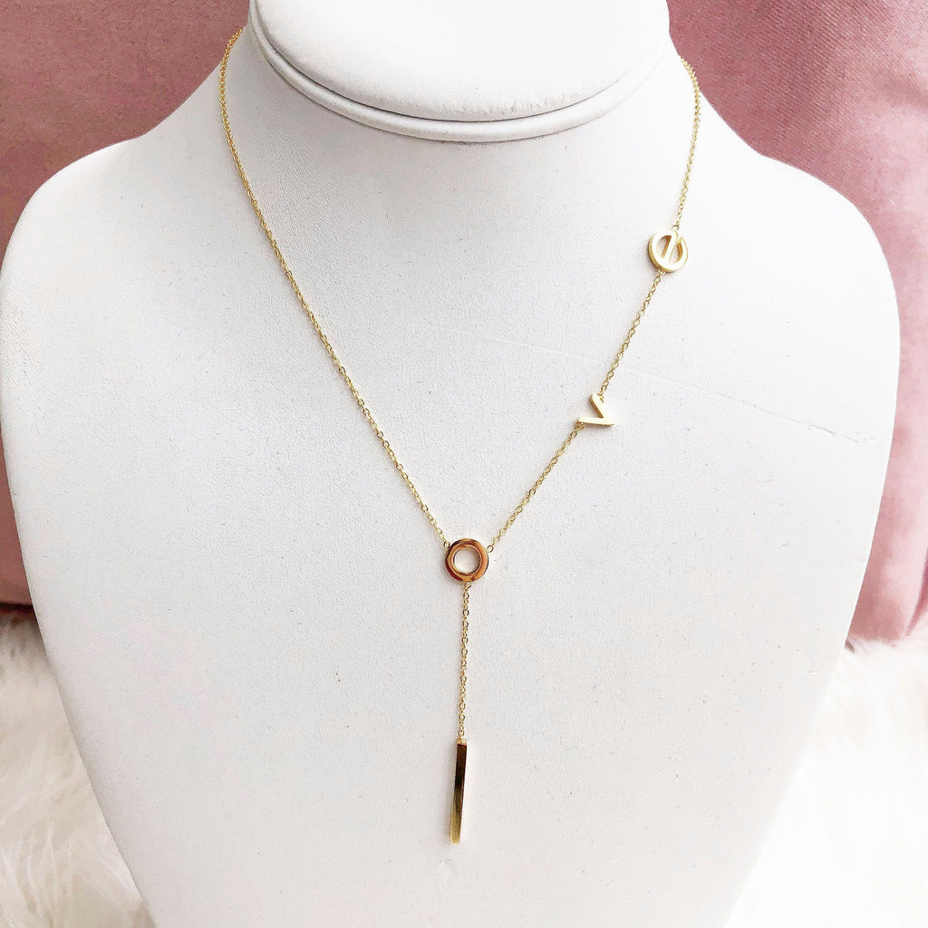 PRE-ORDER: LOVE Lariat Necklace: Gold - Bella and Bloom Boutique