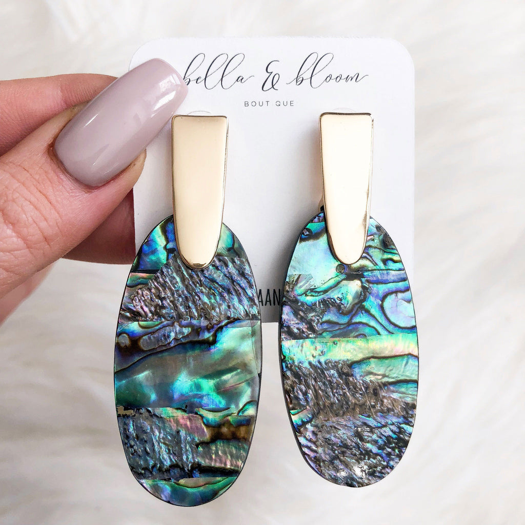 PRE-ORDER: Madison Resin Earrings: Abalone Shell/Gold - Bella and Bloom Boutique