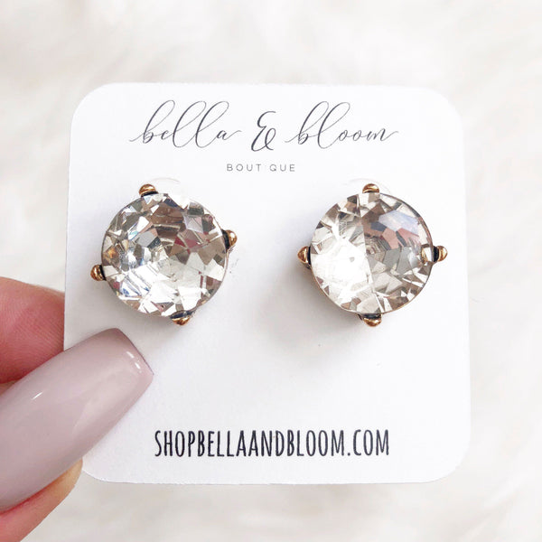 PRE-ORDER: Classic Oversized Stud Earrings: Clear/Gold - Bella and Bloom Boutique