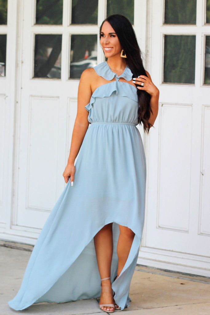 RESTOCK: Ruffle My Way Maxi: Dusty Blue - Bella and Bloom Boutique