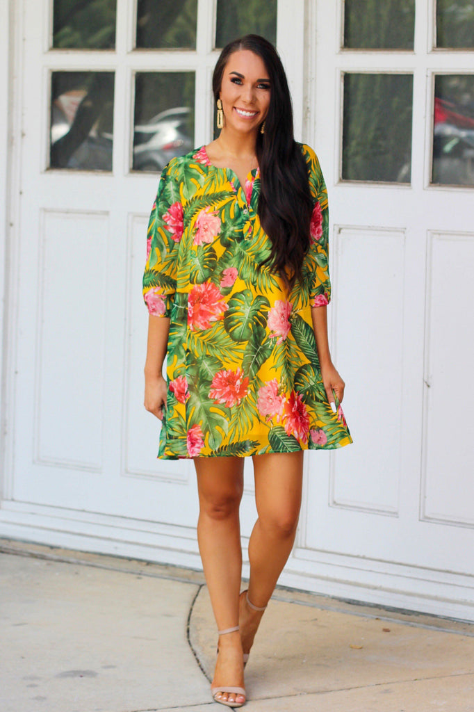 Summer Days Dress: Yellow Multi - Bella and Bloom Boutique