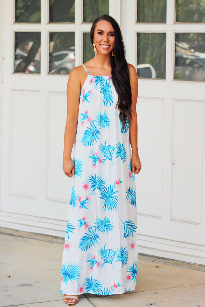 Garden Gal Maxi Dress: White - Bella and Bloom Boutique