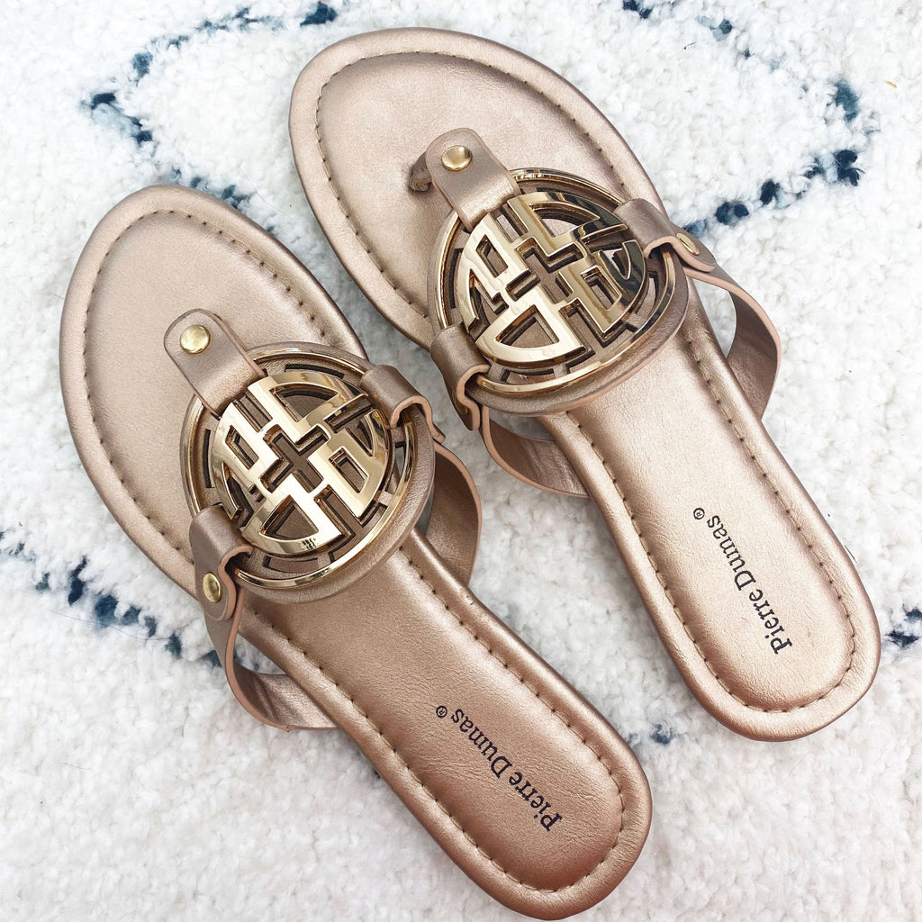 PRE-ORDER: Bryleigh Medallion Sandals: Rose Gold/Gold - Bella and Bloom Boutique