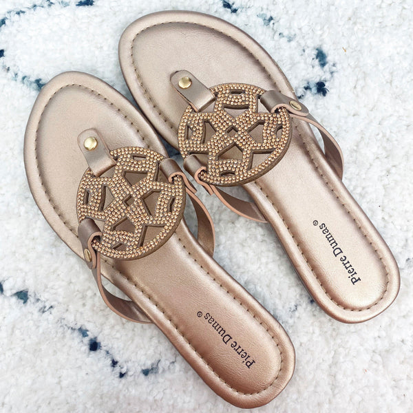 Macy Beaded Medallion Sandals: Rose Gold