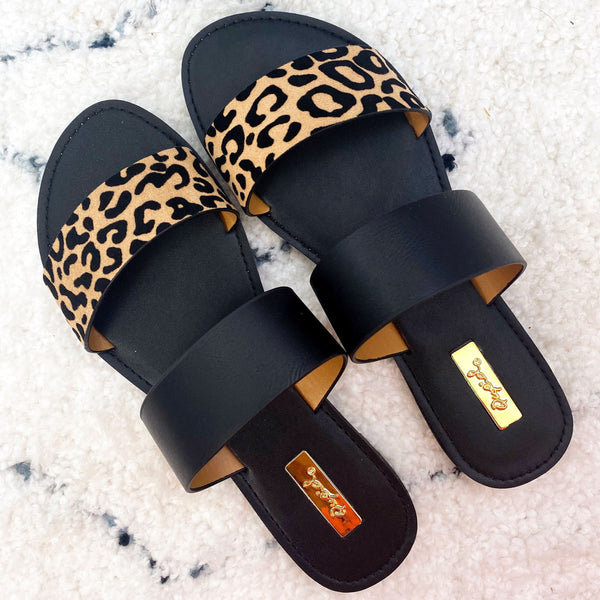 RESTOCK: Casey Double Strap Sandals: New Leopard/Black - Bella and Bloom Boutique