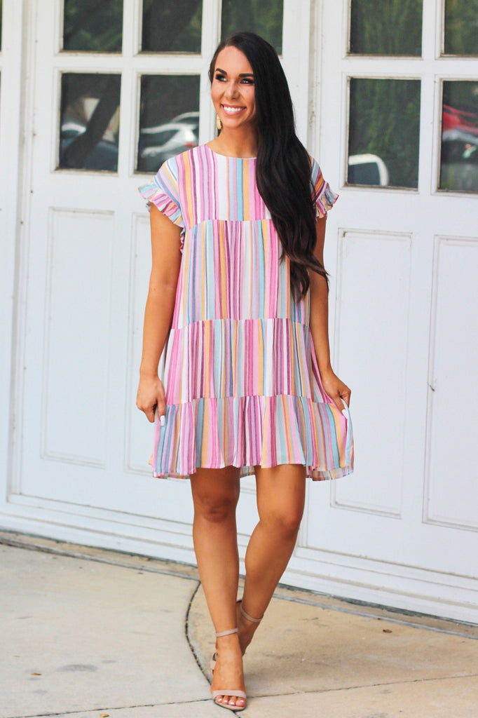RESTOCK: End of the Rainbow Dress: Multi - Bella and Bloom Boutique