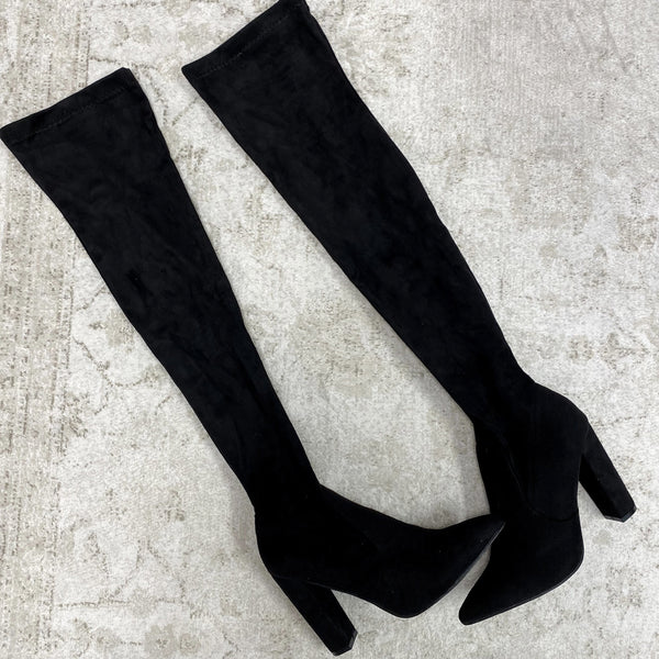 Stella Over the Knee Boots: Black Suede - Bella and Bloom Boutique